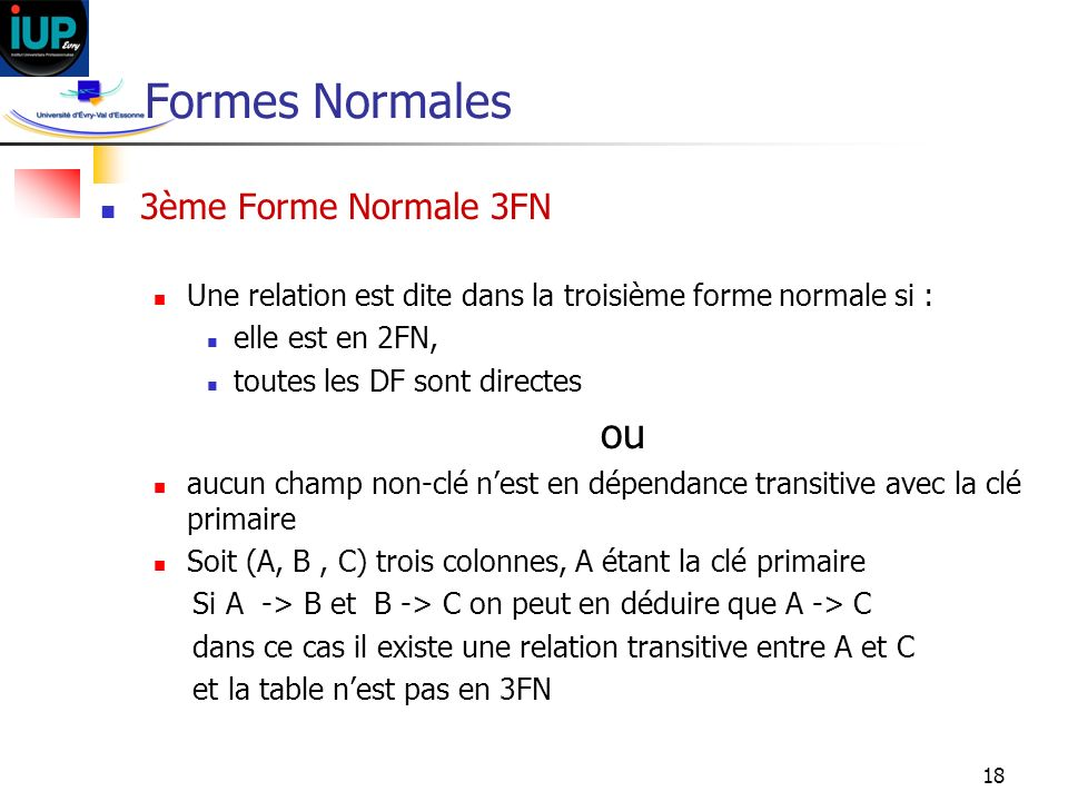Formes Normales ou 3ème Forme Normale 3FN
