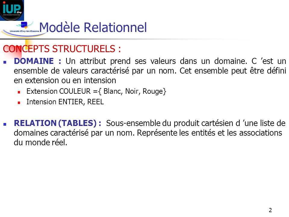 Modèle Relationnel CONCEPTS STRUCTURELS :