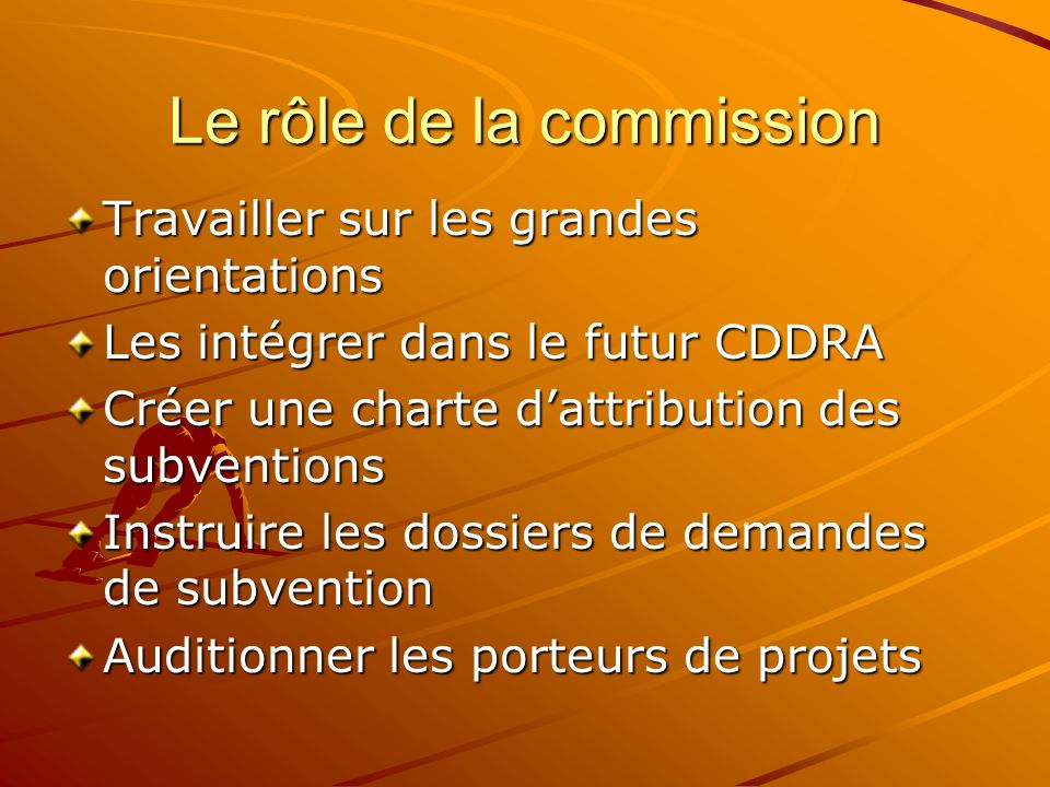 Le rôle de la commission