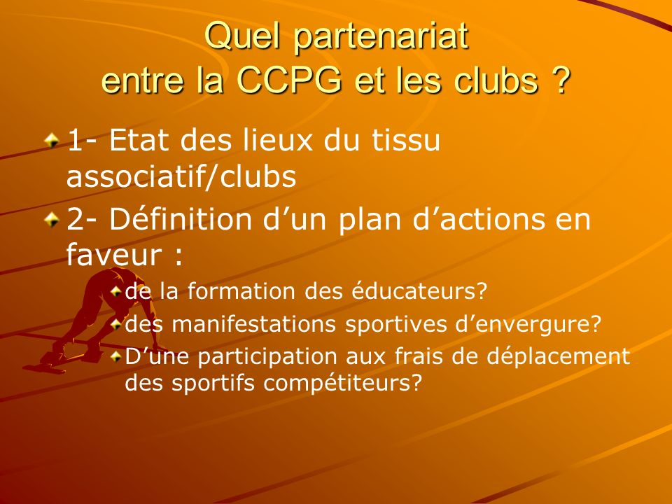 Quel partenariat entre la CCPG et les clubs
