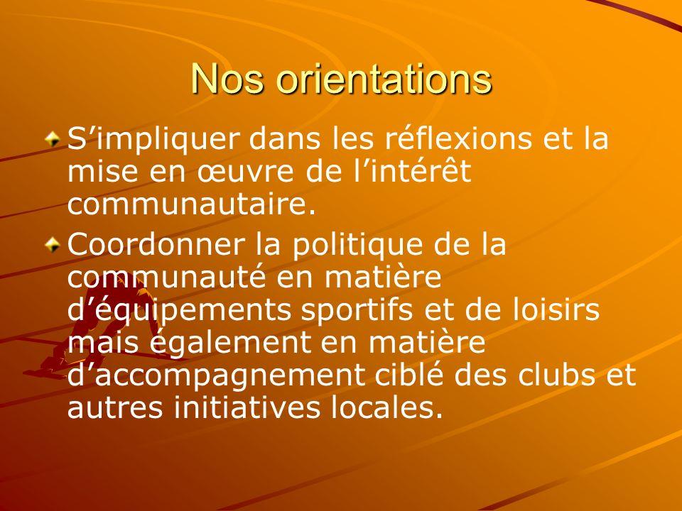 Nos orientations S'impliquer dans les réflexions et la mise en œuvre de l'intérêt communautaire.