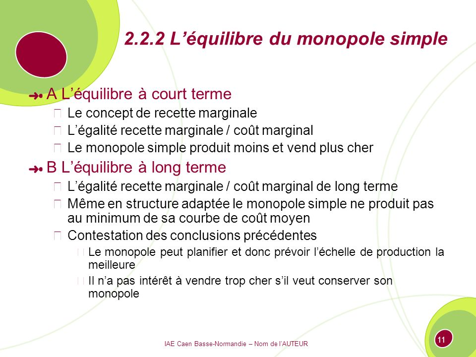 2.2.2 L'équilibre du monopole simple