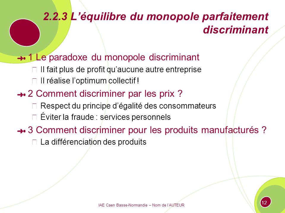 2.2.3 L'équilibre du monopole parfaitement discriminant