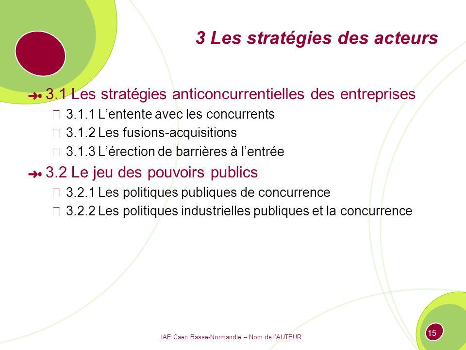 3 Les stratégies des acteurs