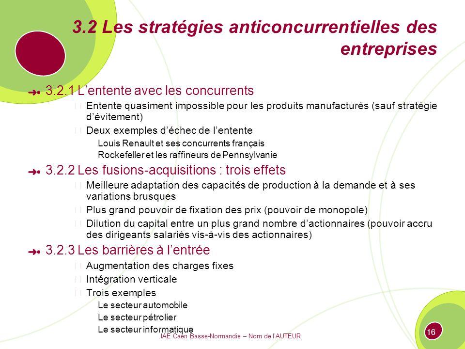 3.2 Les stratégies anticoncurrentielles des entreprises