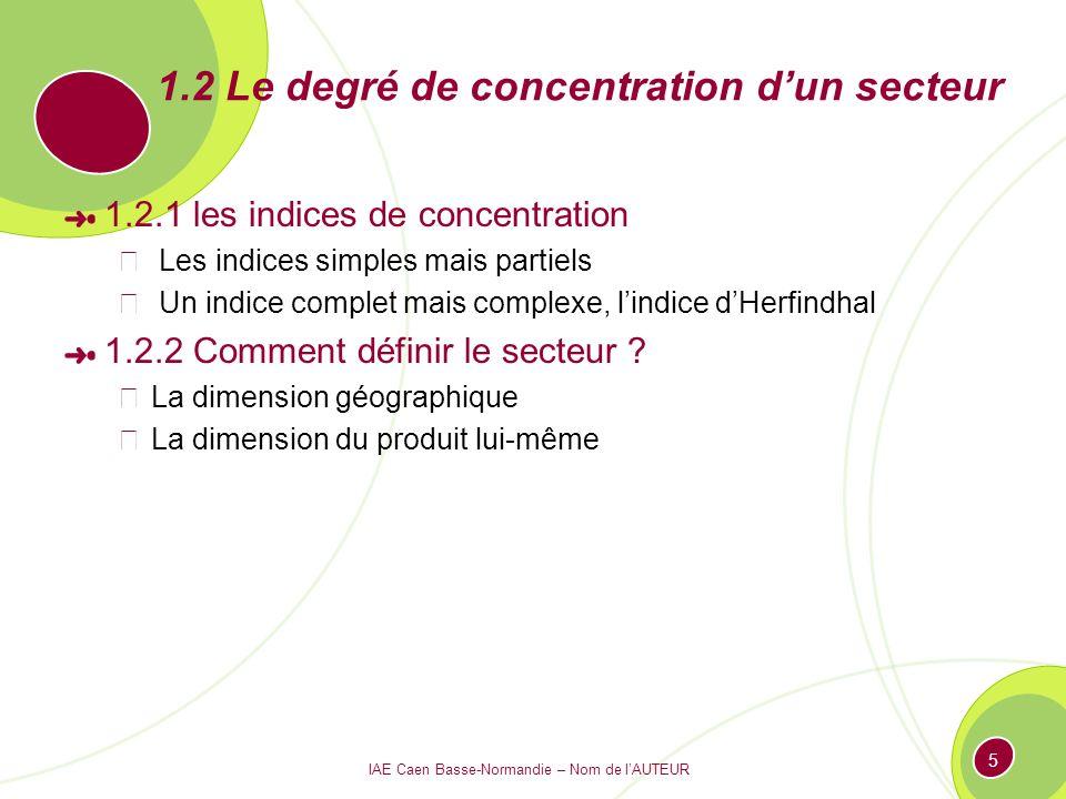1.2 Le degré de concentration d'un secteur
