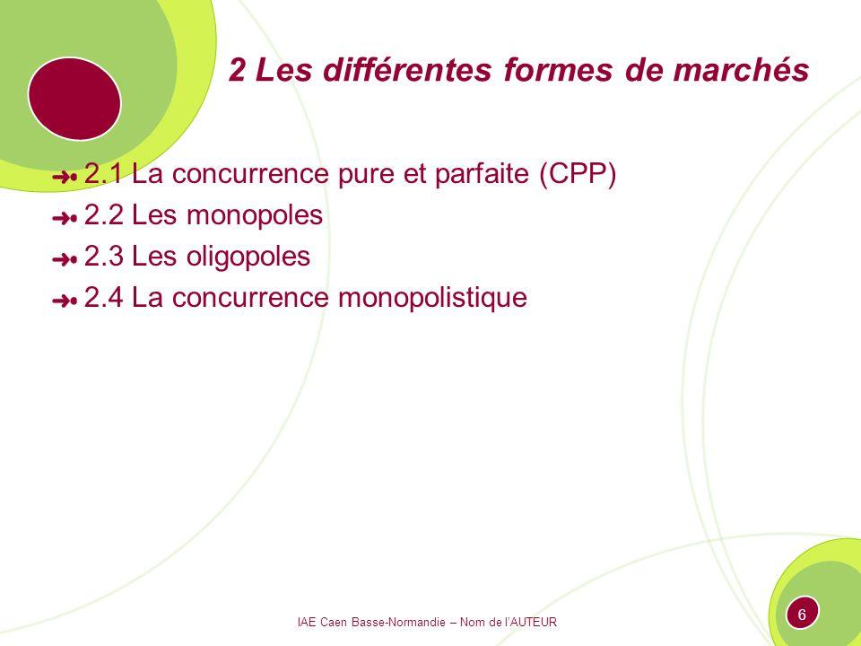 2 Les différentes formes de marchés