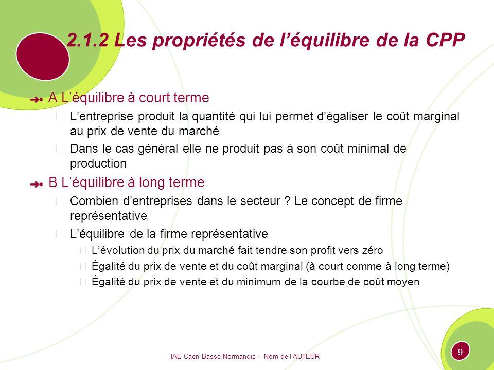 2.1.2 Les propriétés de l'équilibre de la CPP
