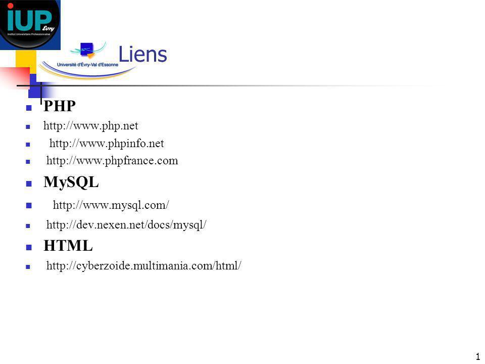 Liens PHP MySQL http://www.mysql.com/ HTML http://www.php.net