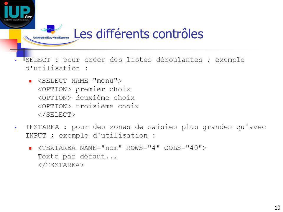 Les différents contrôles