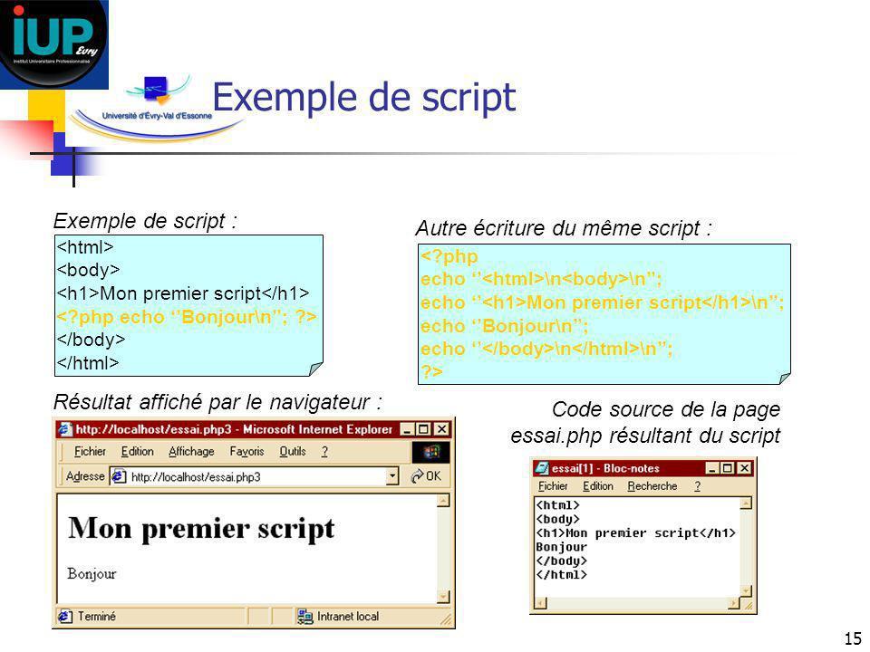 Exemple de script Exemple de script : Autre écriture du même script :