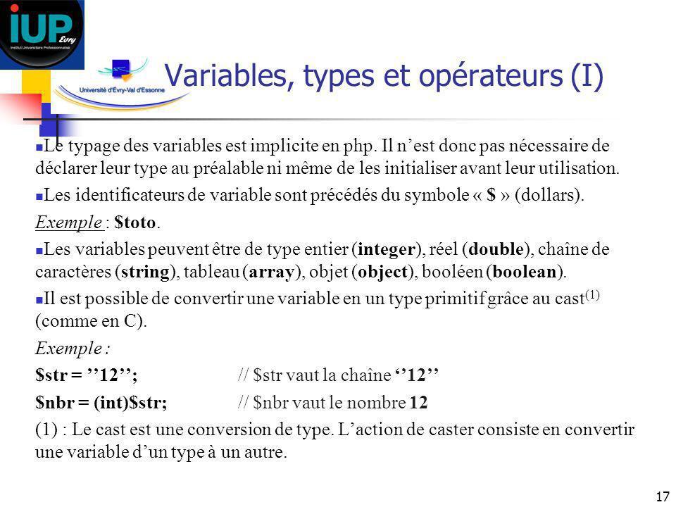 Variables, types et opérateurs (I)