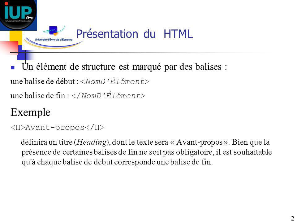 Présentation du HTML Exemple