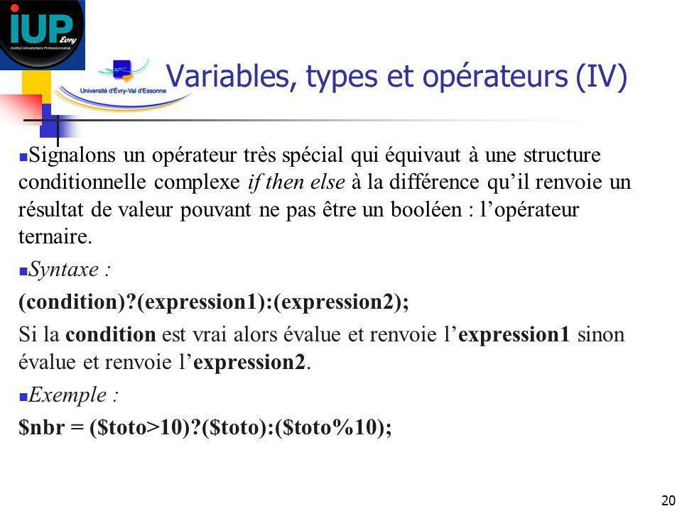 Variables, types et opérateurs (IV)