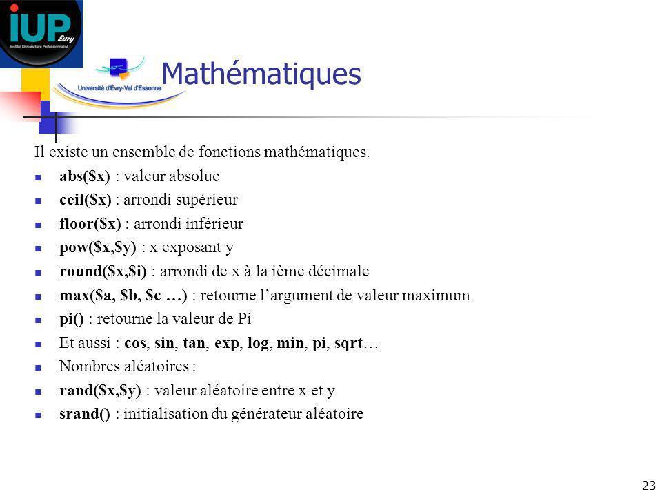 Mathématiques Il existe un ensemble de fonctions mathématiques.