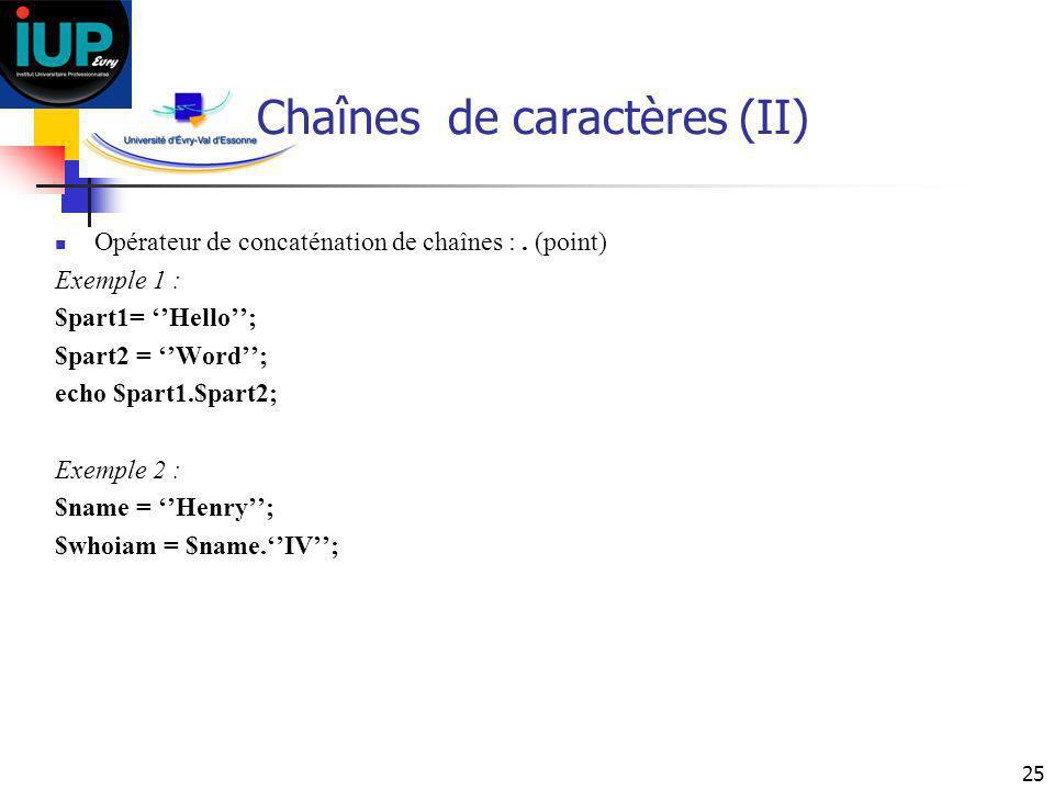 Chaînes de caractères (II)