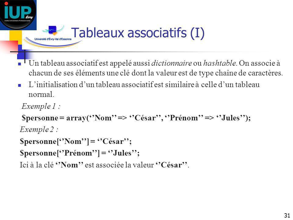 Tableaux associatifs (I)