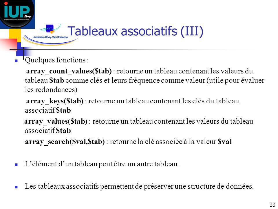 Tableaux associatifs (III)