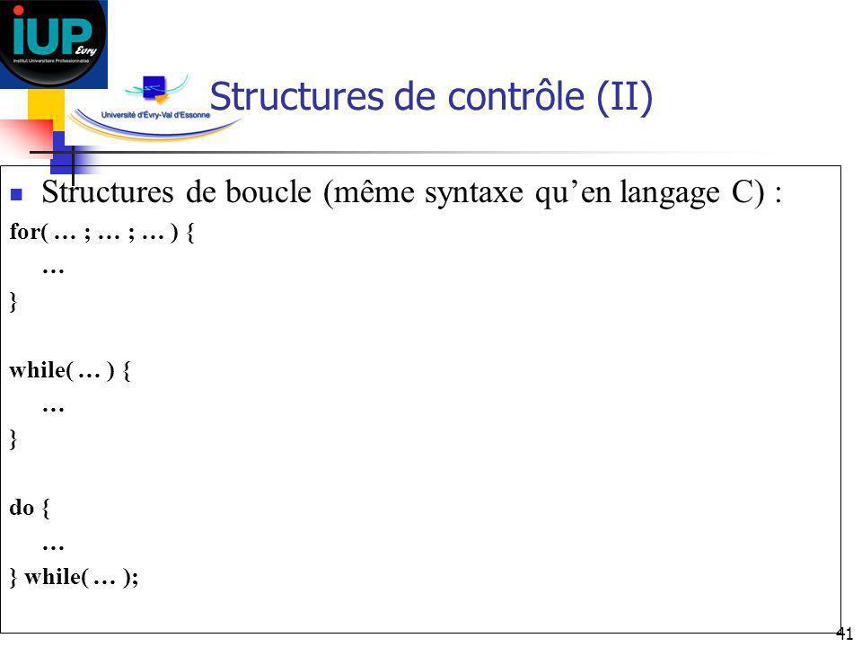 Structures de contrôle (II)