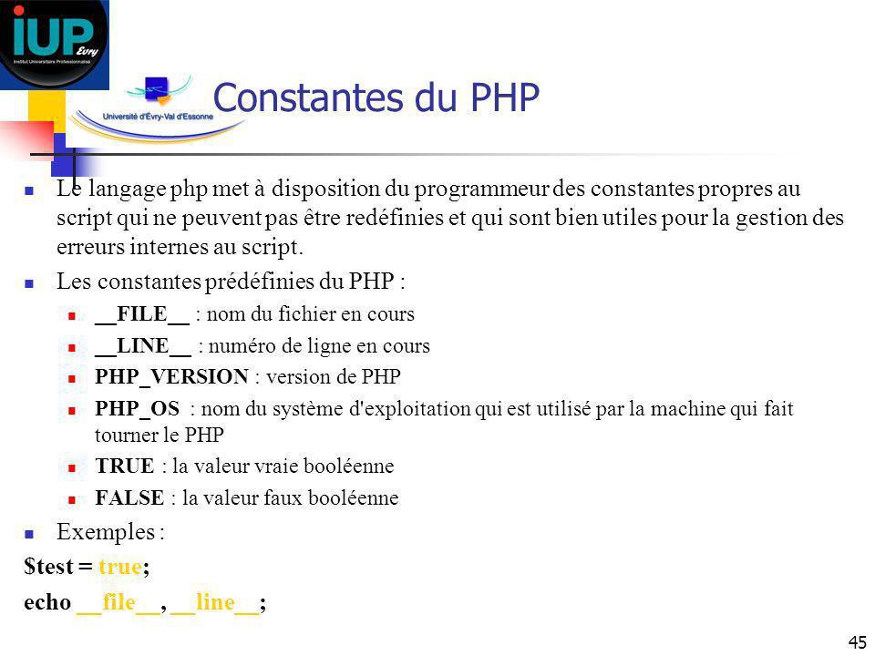 Constantes du PHP