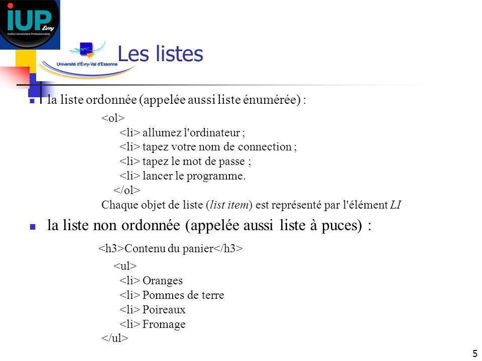 Les listes la liste non ordonnée (appelée aussi liste à puces) :