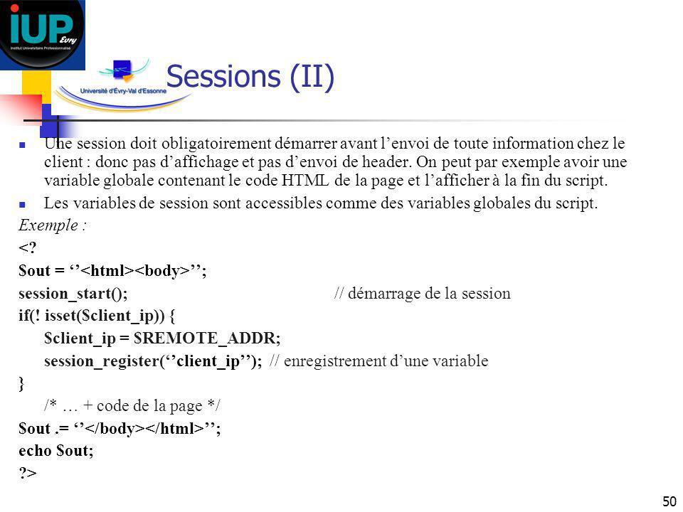 Sessions (II)