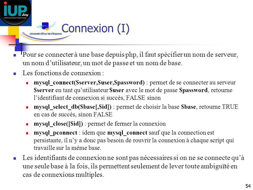 Connexion (I) Pour se connecter à une base depuis php, il faut spécifier un nom de serveur, un nom d'utilisateur, un mot de passe et un nom de base.