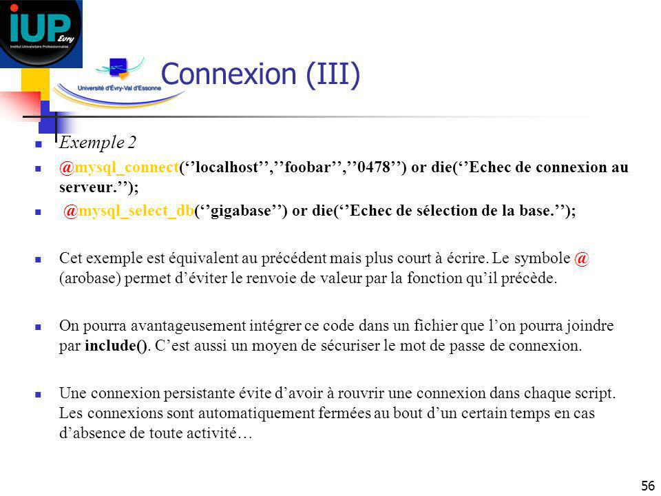 Connexion (III) Exemple 2