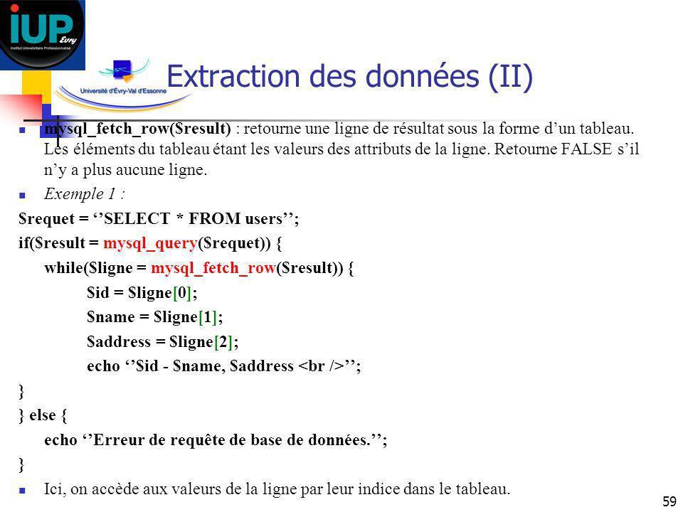 Extraction des données (II)