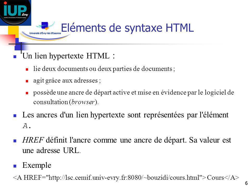Eléments de syntaxe HTML