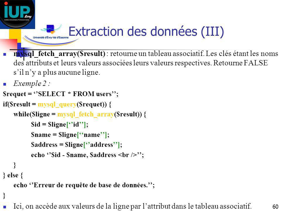 Extraction des données (III)