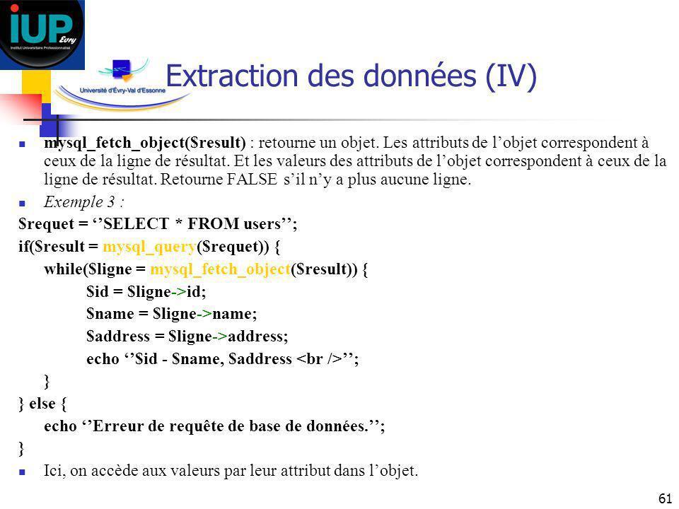 Extraction des données (IV)