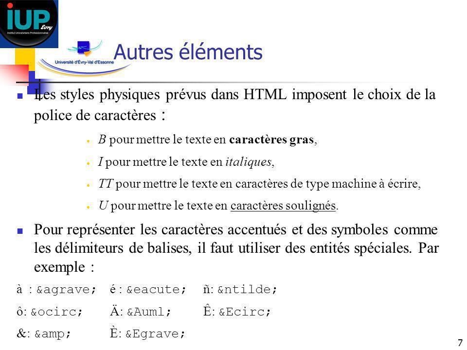 Autres éléments Les styles physiques prévus dans HTML imposent le choix de la police de caractères :