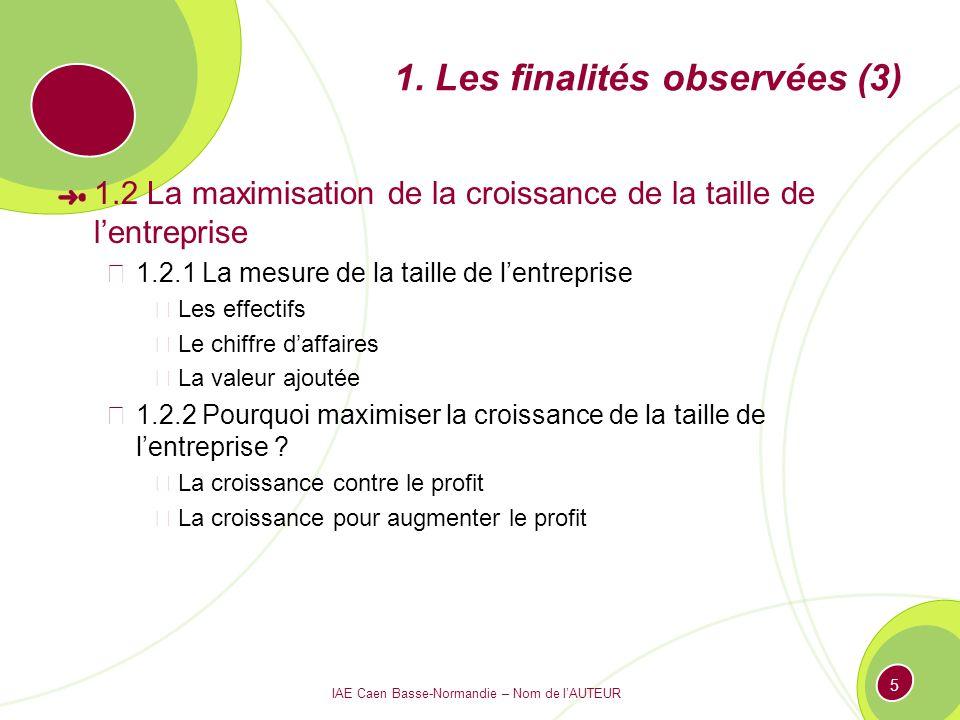 1. Les finalités observées (3)