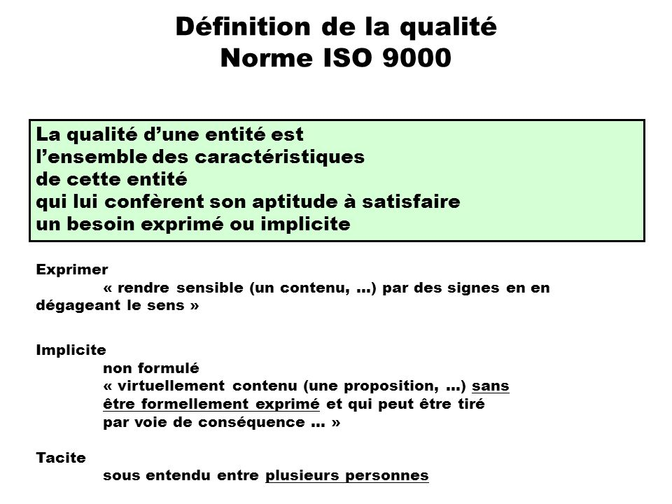 Définition de la qualité Norme ISO 9000