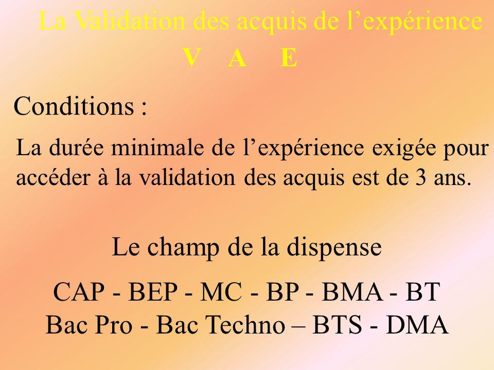 La Validation des acquis de l'expérience V A E