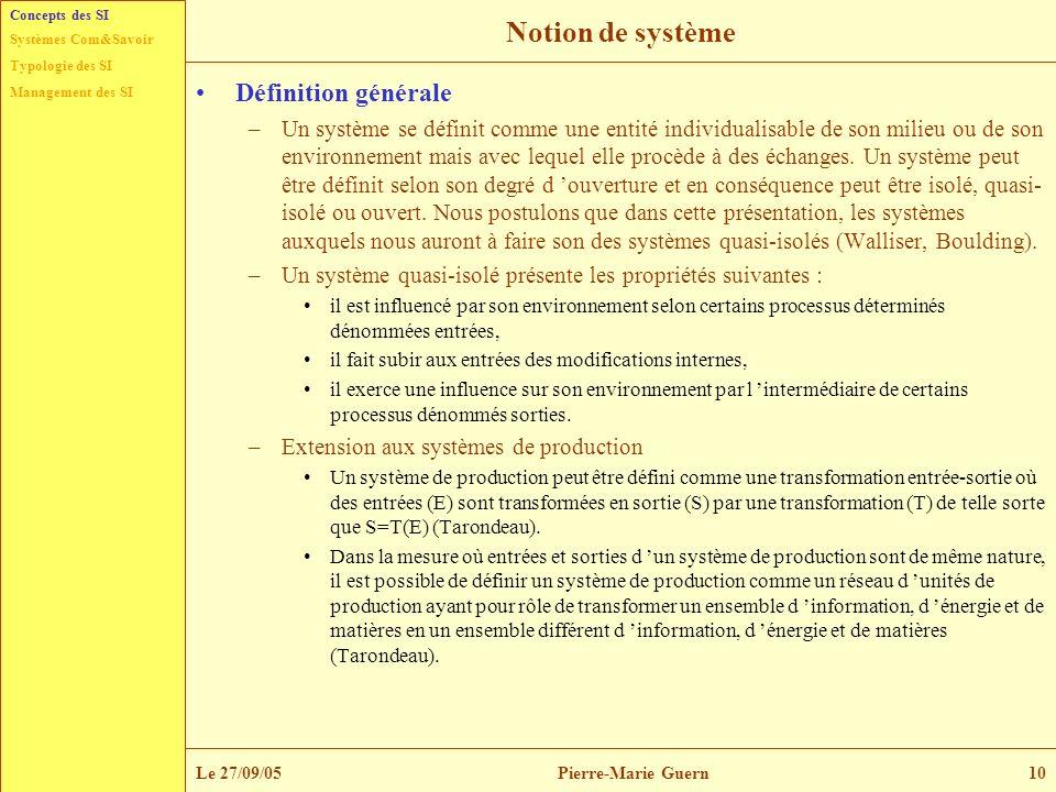 Notion de système Définition générale