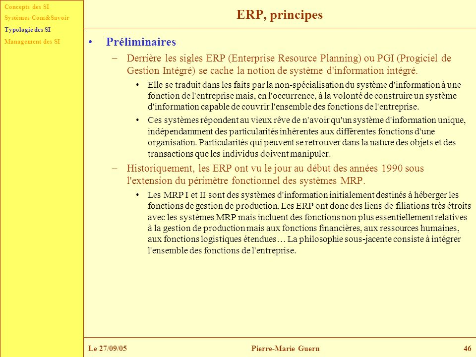 ERP, principes Préliminaires