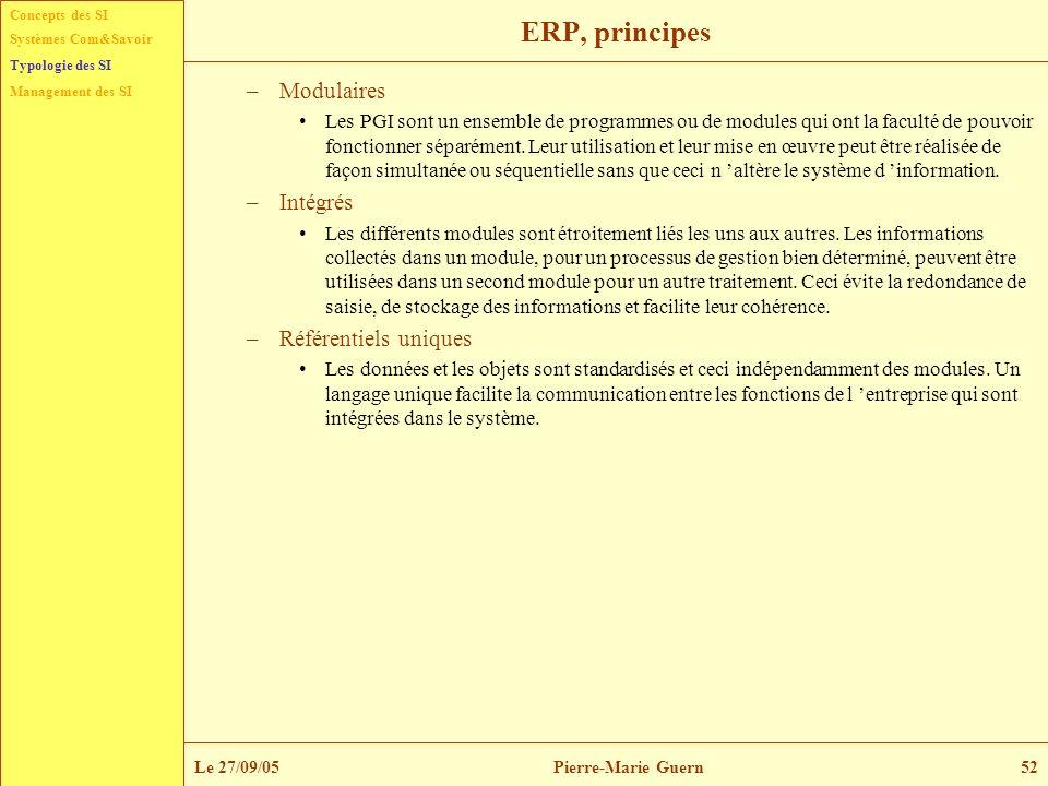 ERP, principes Modulaires Intégrés Référentiels uniques