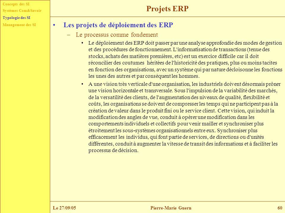 Projets ERP Les projets de déploiement des ERP