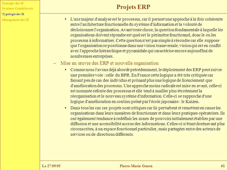 Projets ERP Mise en œuvre des ERP et nouvelle organisation