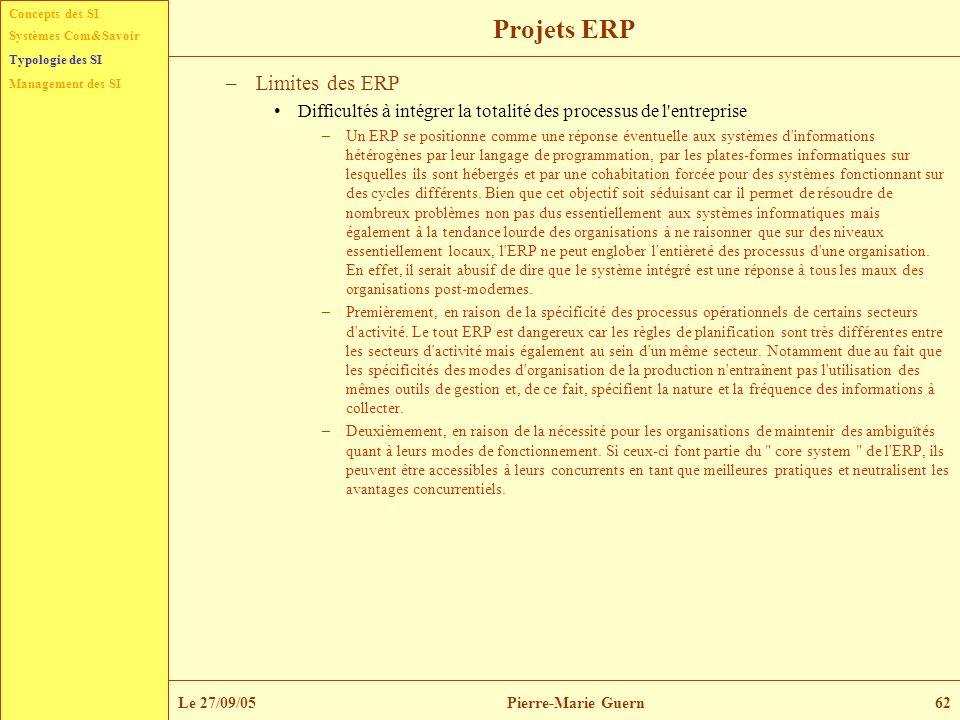 Projets ERP Limites des ERP