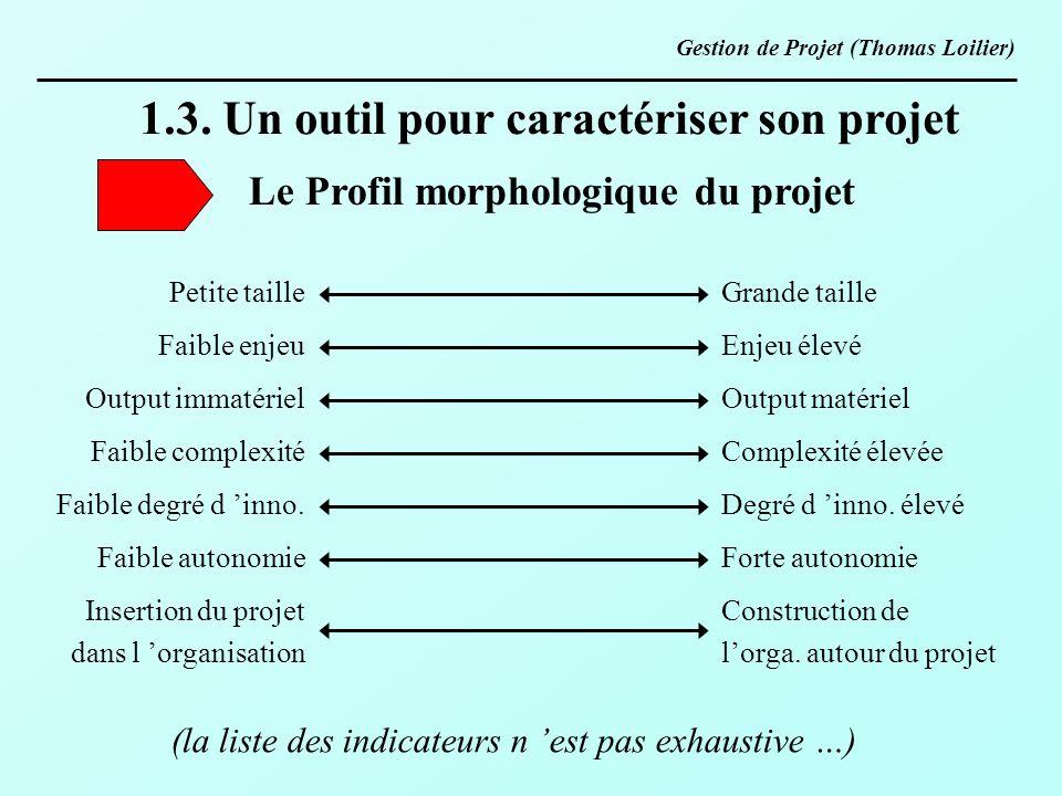 Le Profil morphologique du projet
