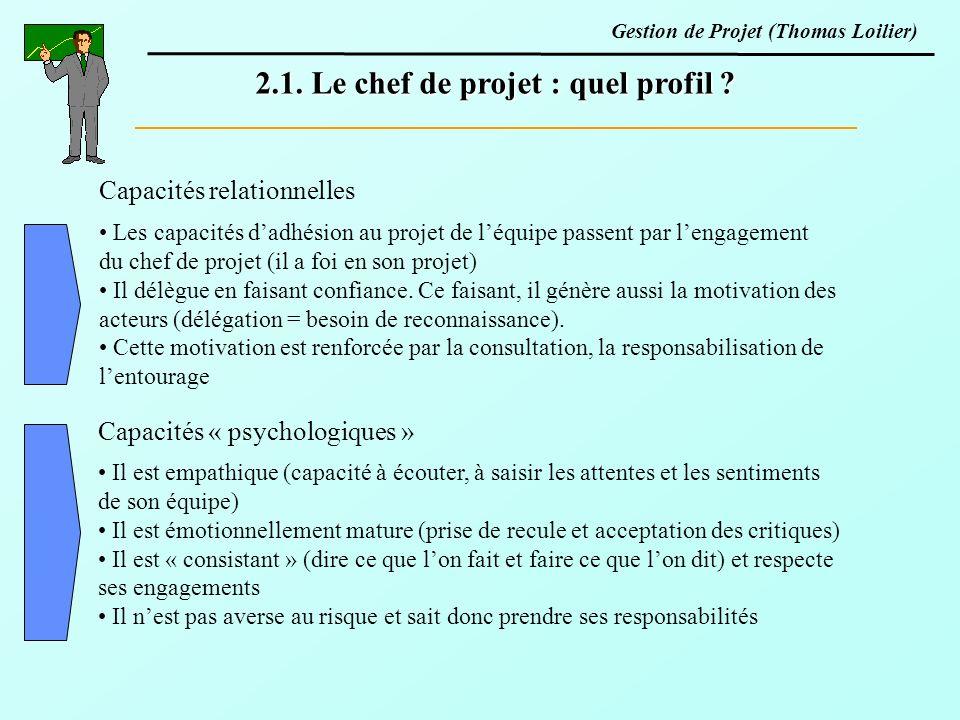 2.1. Le chef de projet : quel profil