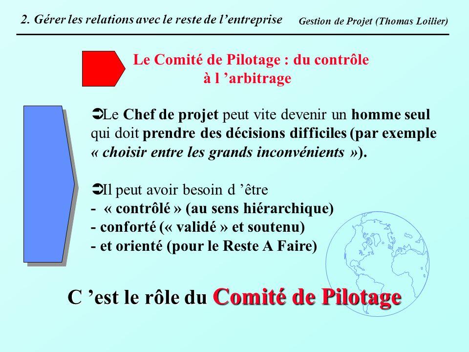 Le Comité de Pilotage : du contrôle