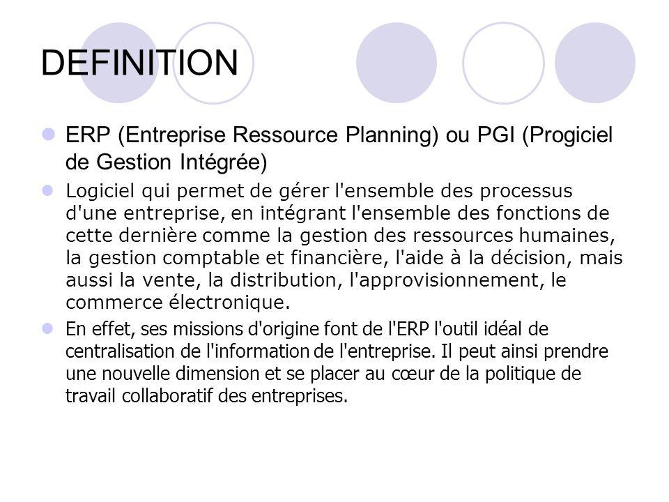 DEFINITION ERP (Entreprise Ressource Planning) ou PGI (Progiciel de Gestion Intégrée)