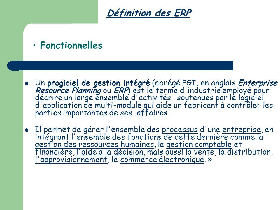 Définition des ERP Fonctionnelles