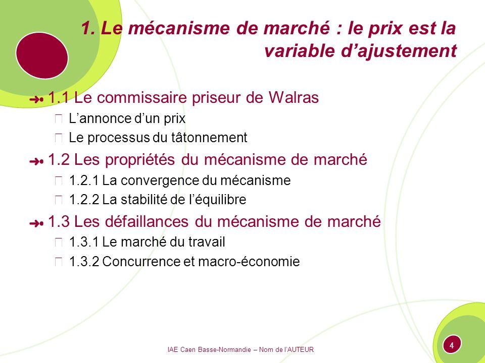 1. Le mécanisme de marché : le prix est la variable d'ajustement