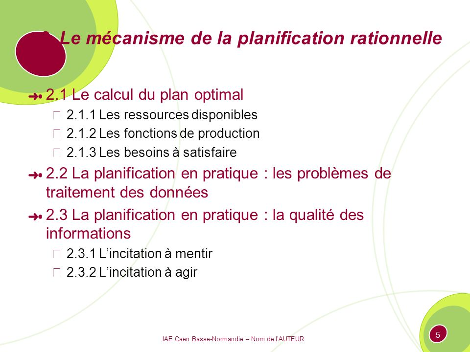 2. Le mécanisme de la planification rationnelle