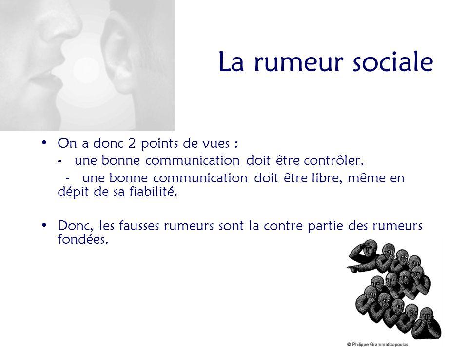 La rumeur sociale On a donc 2 points de vues :